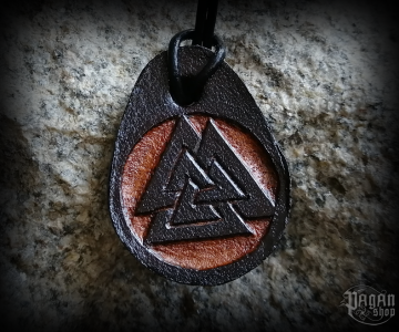Pendant Valknut Harbard - leather