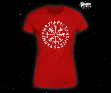 Women's T-shirt Vegvisir Futhark red