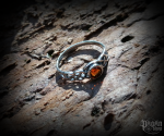 Ring Tamia with orange/red crystal - 925 sterling silver