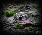 Ring Tamia with dark blue crystal - 925 sterling silver