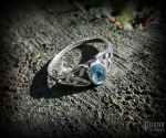 Ring Mythia with light blue crystal - 925 sterling silver