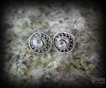 Stud earrings with white crystal Sun Raida - 925 sterling silver