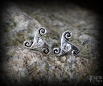 Stud earrings with white crystal Triskel Anwyn - 925 sterling silver